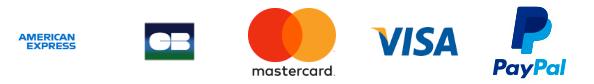 American Express, CB, Mastercard, Visa, Paypal